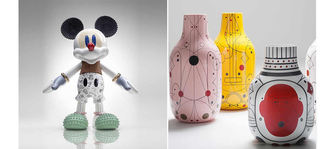 Mickey Mouse, sculptures animales, vases arty, petites tables basses, lampes d'Elena Salmistraro