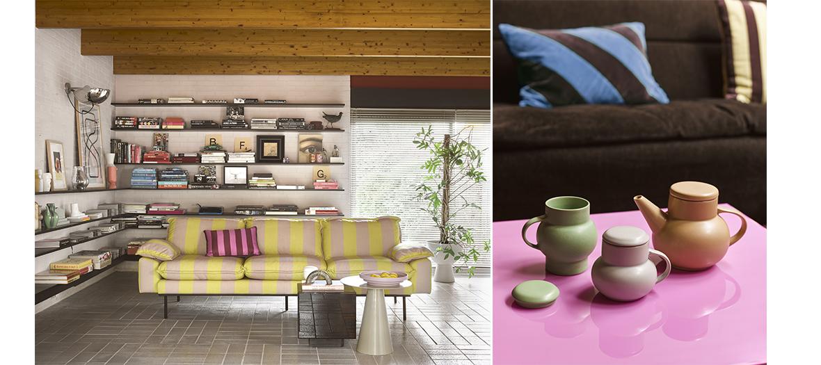 Coussin rose barbie et bleu, canapé à rayures jaune, banc  stabilo, HK Living