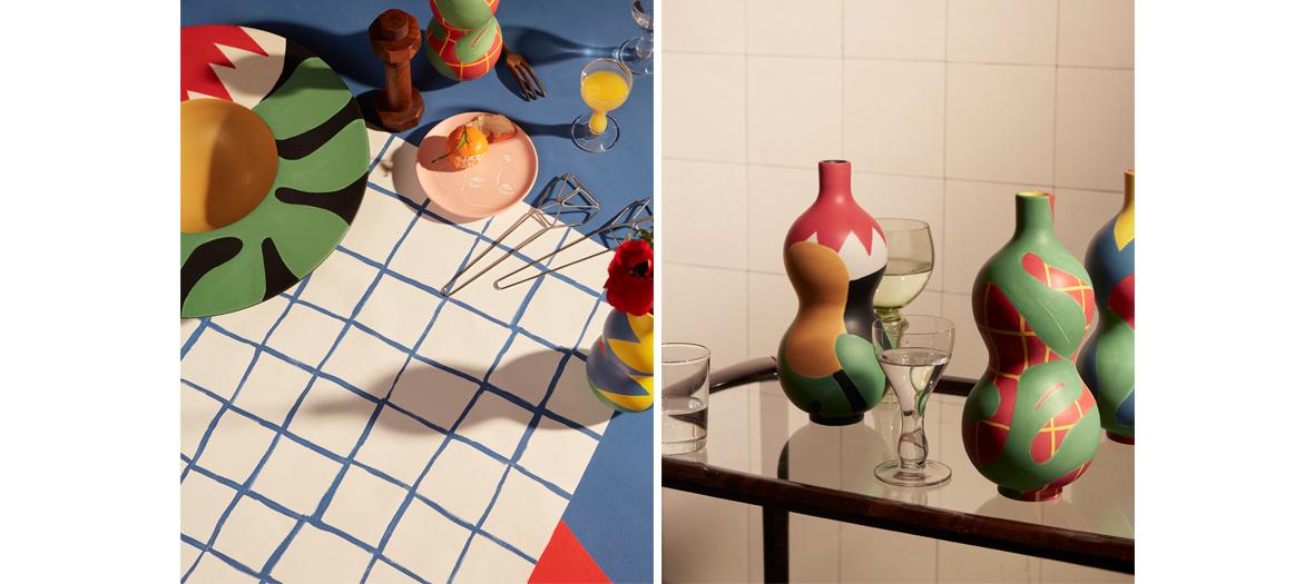 Plats, bouteilles, assiettes et cruches multicolores fait main  de Marta Bakowski chez Maison Matisse