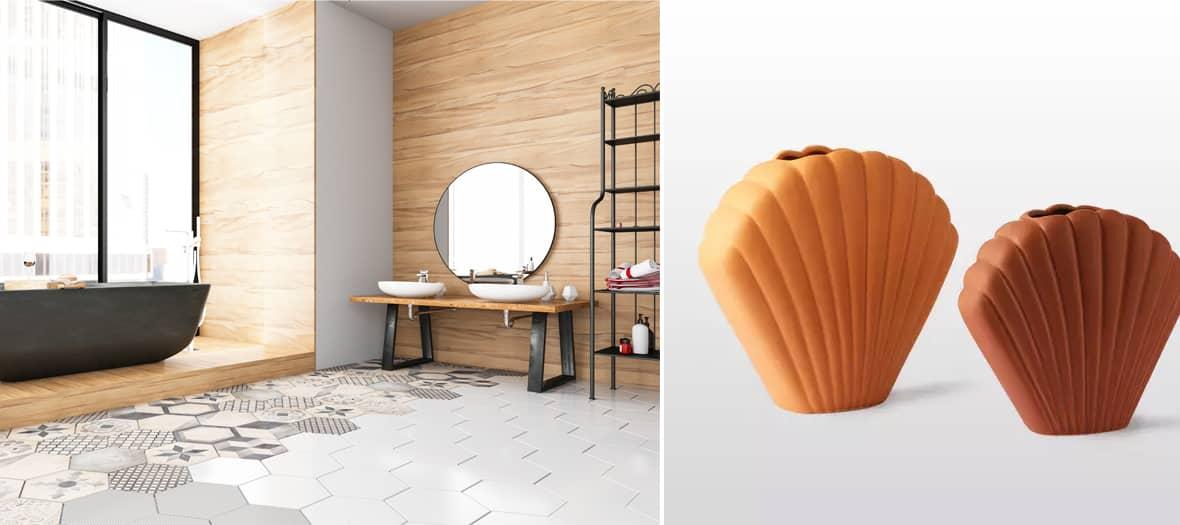 Salle de bain décoré avec des matières naturelles comme le bois, le rotin ou l'osier