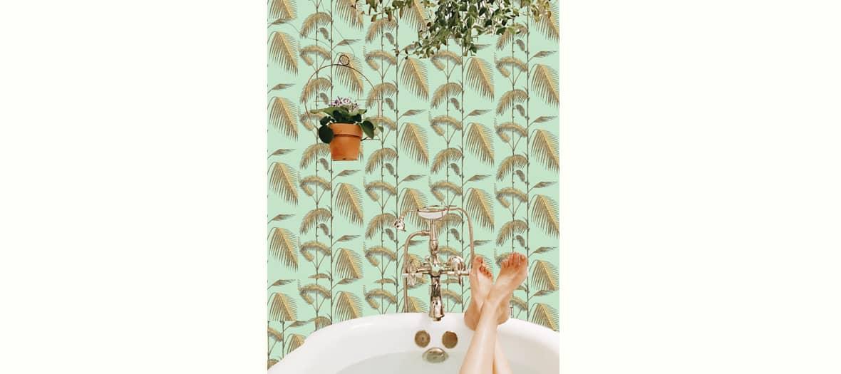 Papier peint Palm Leaves Bromélia dans une salle de bain