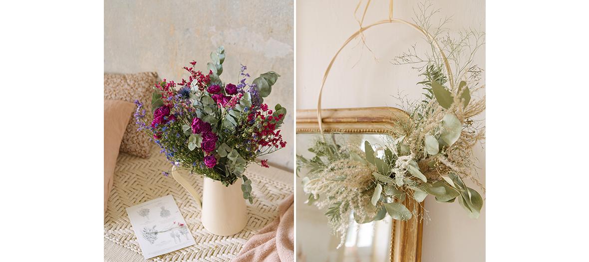 couronnes et bouquets de fleurs eco-friendly, naturellement séchées à l'atelier Bergamotte à Paris