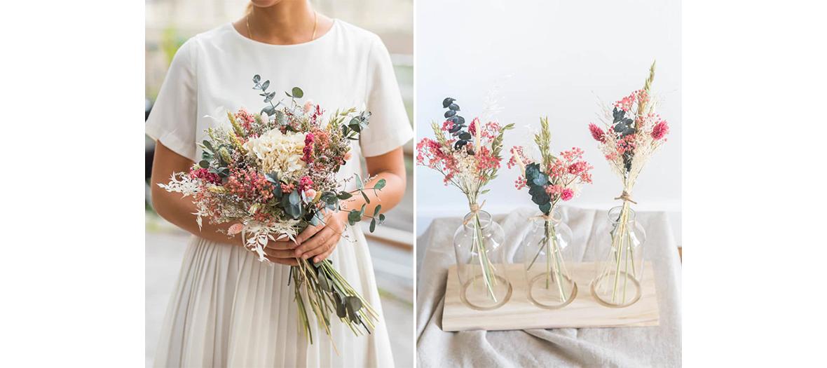 Couronnes, bouquets et accessoires de fleurs séchées chez flowrette