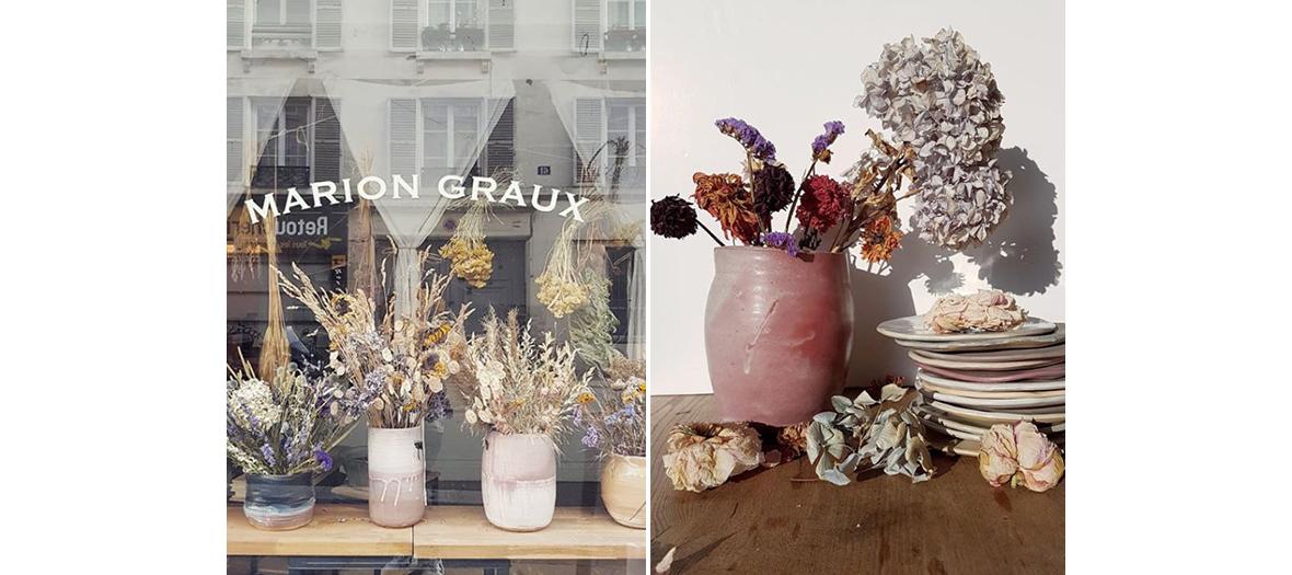 Bouquets de fleurs fanées à l'atelier Marion Graux
