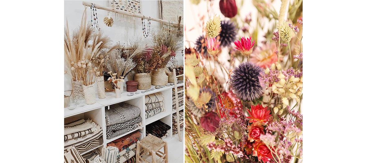 pop-up store entièrement dédié aux fleurs séchées au bhv Marais