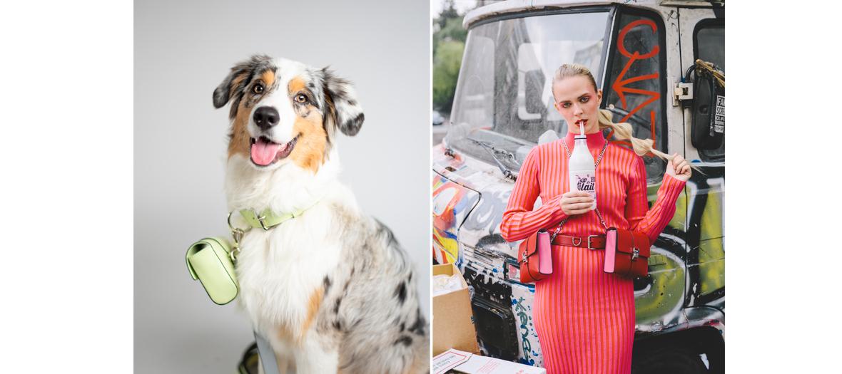 Portrait de la créatrice Astrée et sa chienne Pietra portant un collier pochettes de la collection LeDog