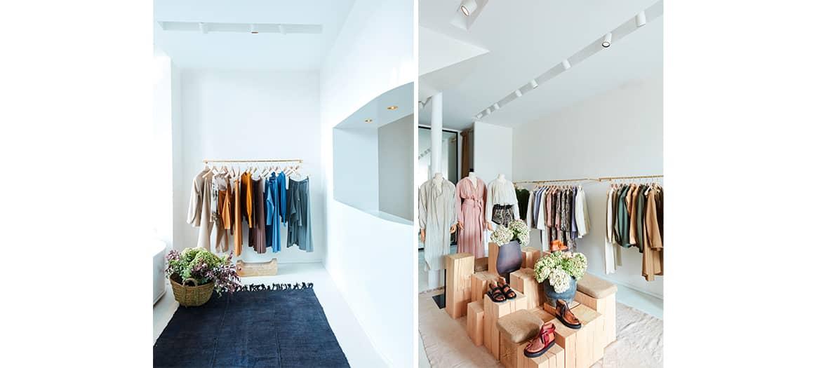 Collection Dans la Boutique Laurence Bras avec ses pantalons, ses chemisiers en popeline de coton à fleurs, ses blouses et cols XXL et ses robes bohème fluide.