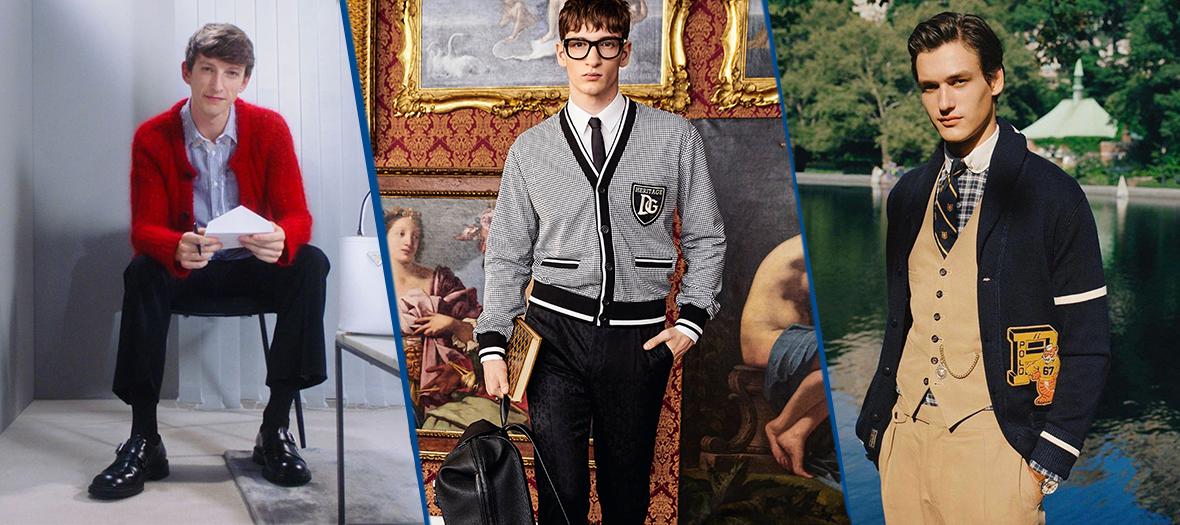 Les cardigans mohair fluffy Prada, à crochet Dolce & Gabbana et à col châle preppy Ralph Lauren