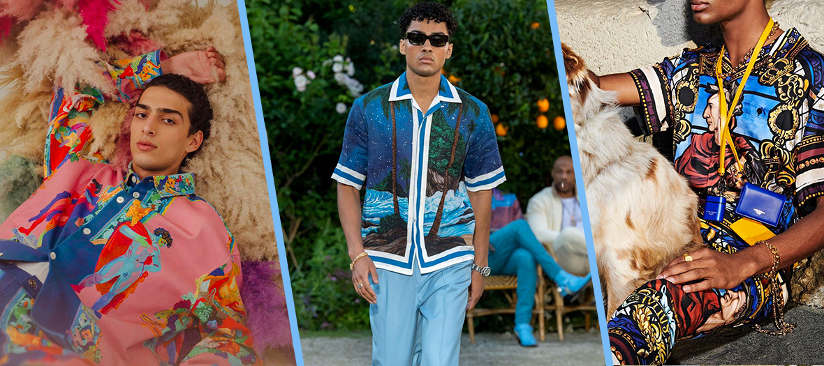Chemises XXL imprimés de chez Valentino, Versace, Casablanca, Prada, Dolce & Gabbana et MSGM