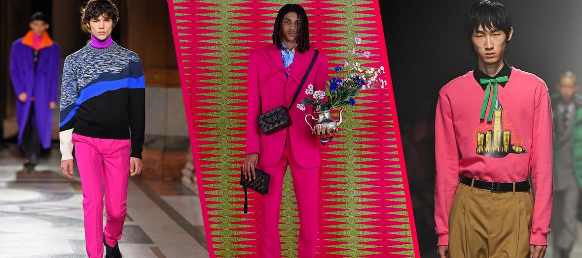 Pantalon , costume et pull fushia chez Louis Vuitton, Jacquemus et Berluti