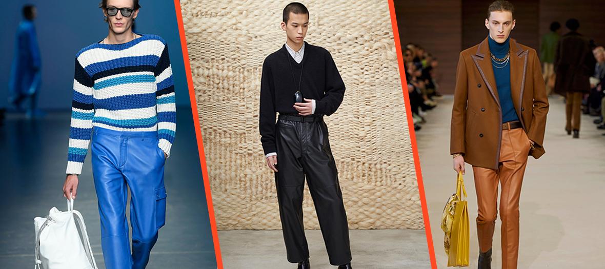Pantalon en cuire bleu azur, noir et marron