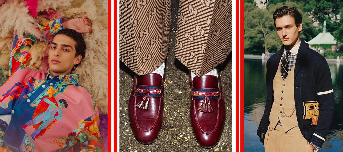 Mode Homme Printemps avec cardigan à col châle preppy Ralph Lauren, chemises XXL imprimé et moccassins en cuir
