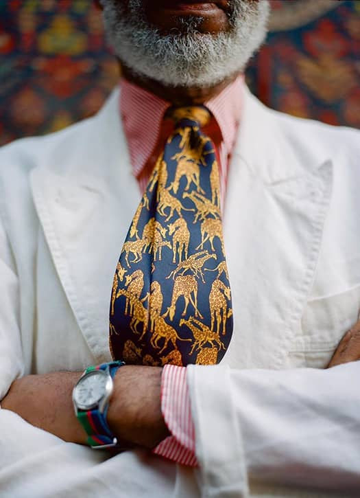 Cravate imprimé girafe en soie, Drake's