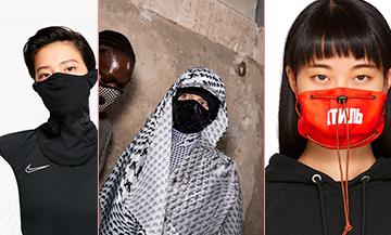 Masque rouge Style Pollution de Heron Preston, Col tube VaporKnit Strike de Nike, Masques antipollution de Marine Serre pour limiter les dégats du Coronavirus