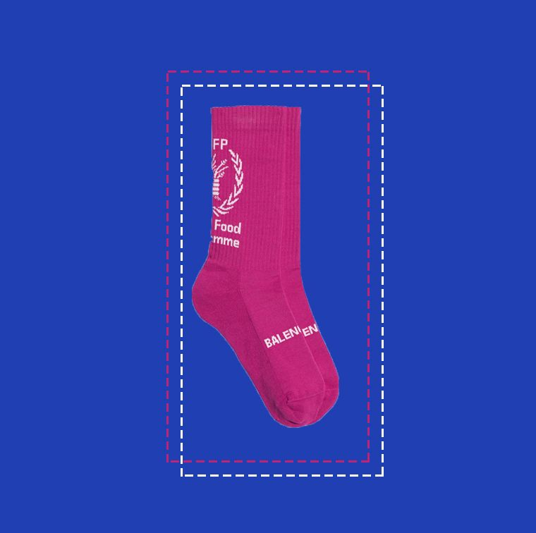 Chaussettes en coton à imprimé WFP rose et blanc, Balenciaga