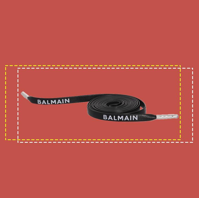 Lacets en cuir noirs logo, Balmain