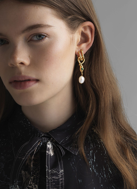 Boucles d'oreilles Callie en laiton finitions laquées, perles de culture et cristal, Chloé