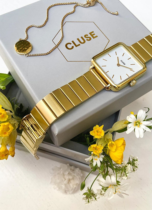 Gift box La Tétragone Watch & Slider Bracelet Gold, Cluse