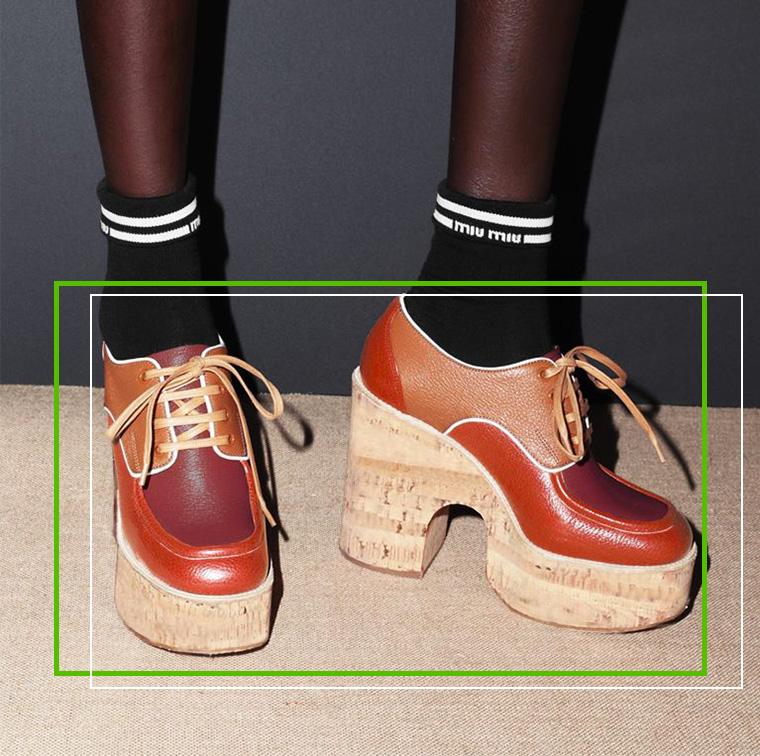 Chaussures à lacets en cuir Madras, Miu Miu