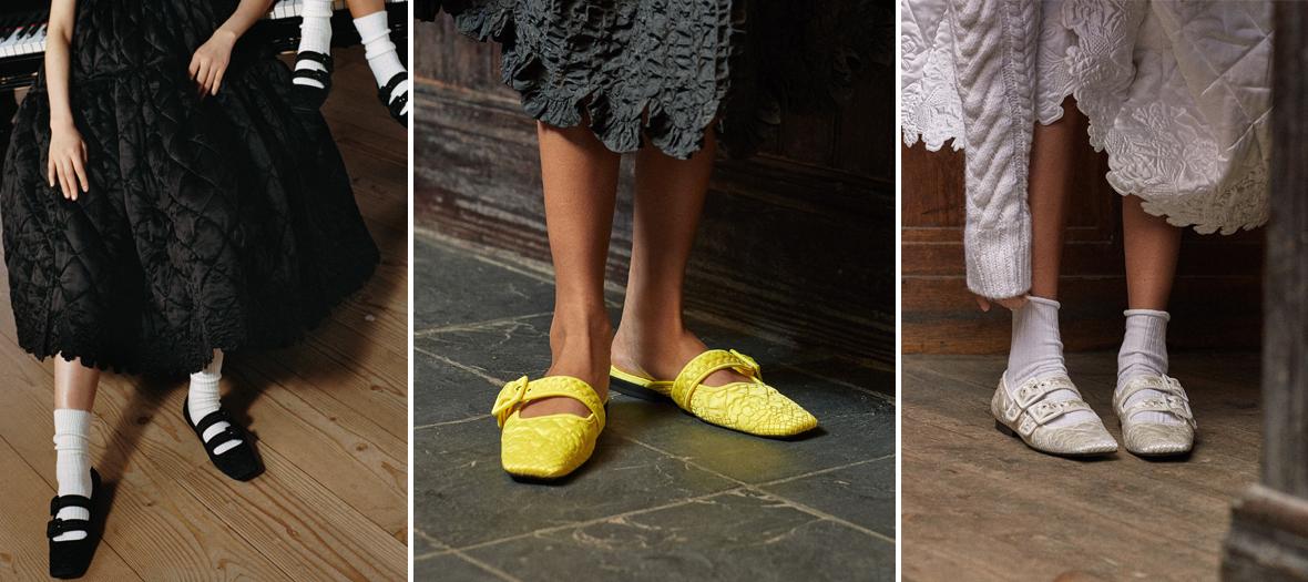 chaussons comportent tous un bout carré façon pointes de ballerines, pour coller à l'obsession du moment.
