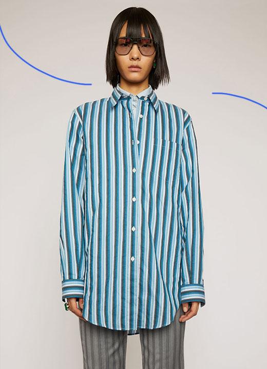 Chemise à rayures bleu vif, Acne Studios