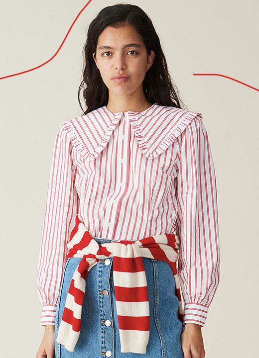 Chemise à rayures et collerette, Ganni