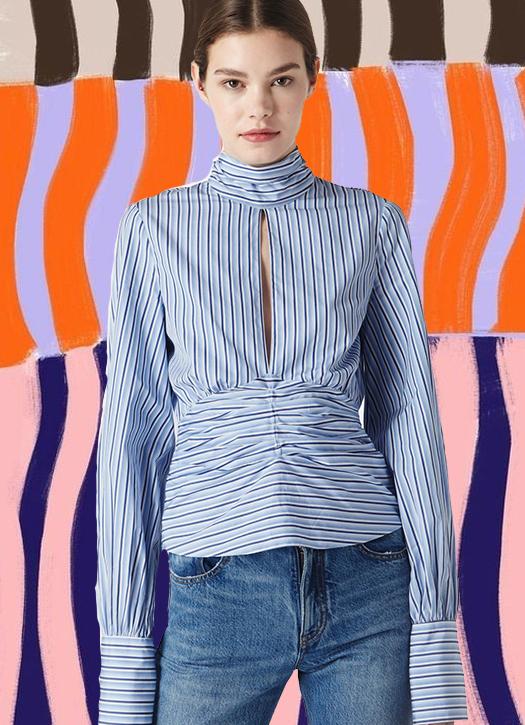 Top rayé bleu, Victoria Victoria Beckham
