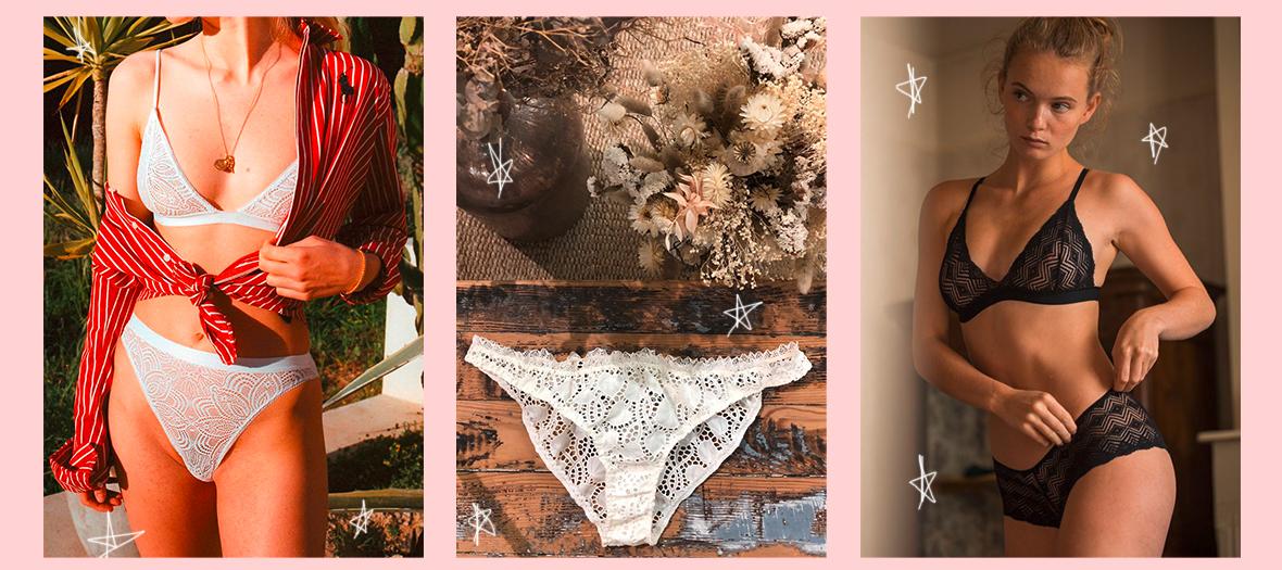 Lingeries en coton bio, fins de rouleaux recyclés et chutes de tissus de Nénés, Olly et Laure de Sagazan