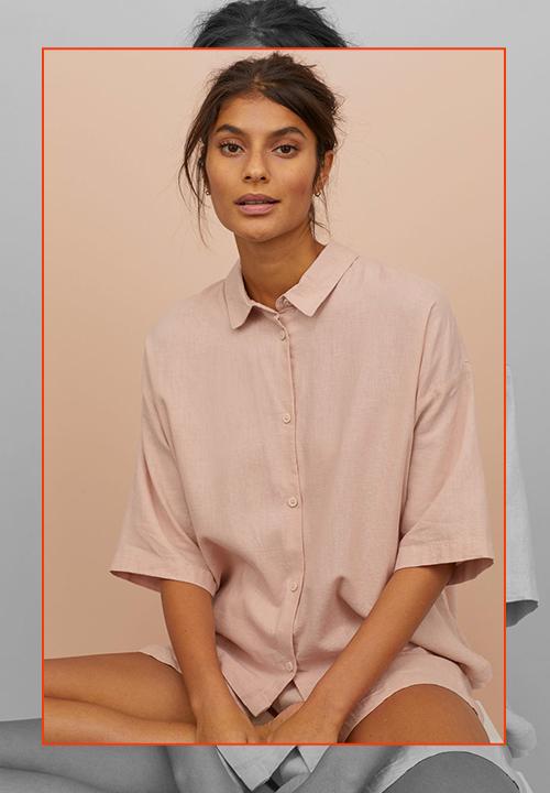 Ensemble de pyjama avec chemise et short court en rose poudré, H&M