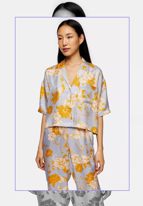 Chemise et pantalon de pyjama bleu à pois et fleurs, Topshop