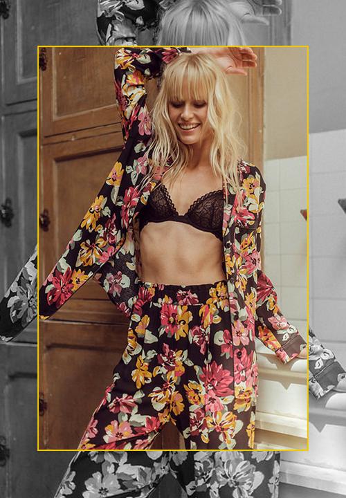 Chemise et pantalon de Pyjama imprimé floral, Ysé