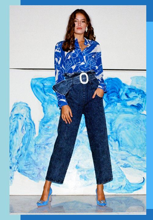 Chemise en soie imprimée Géants Bleus du label Fête Impériale