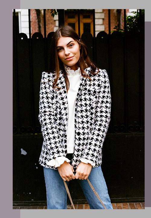 vestes pied de poules et blouses minimalistes du label Rosaé Paris