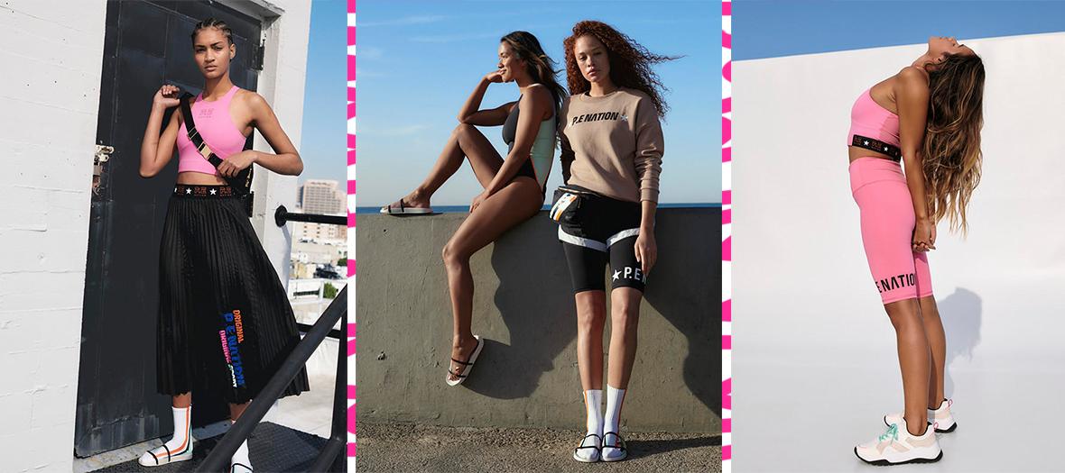 Claquettes, soutien-gorge croisé, coupe-vent color-block, legging, sac de sport et jupe plissée de collab' H&M et P.E. Nation