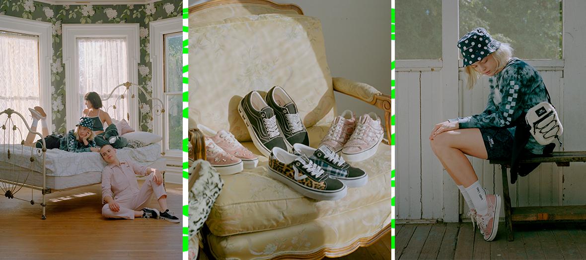 Combi de garagiste rose, bob à pois, sacoche doudou, tennis à piercings en velours rose, hoodie court, jogging peluche et chaussettes montantes de Vans et Sandy Liang