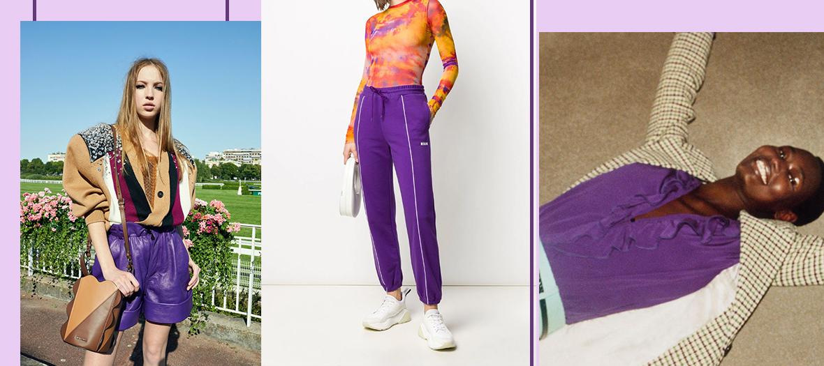 Short en nappa brillant, Miu Miu, Pantalon de jogging à bandes logo MSGM, V-Neck Ruffle Blouse in Bright Purple, Victoria Beckham