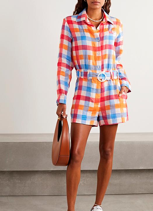 Combi-short en lin vichy à ceinture, Solid & Striped