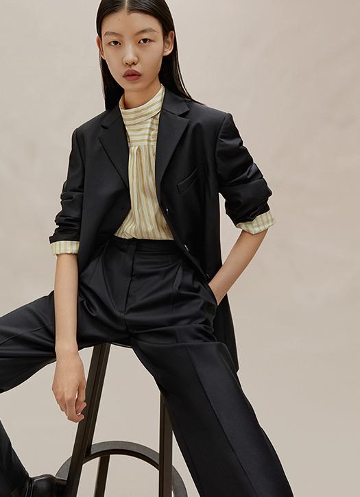 Veste en laine peignée, chemise en sergé de soie, pantalon en laine peignée Icicle