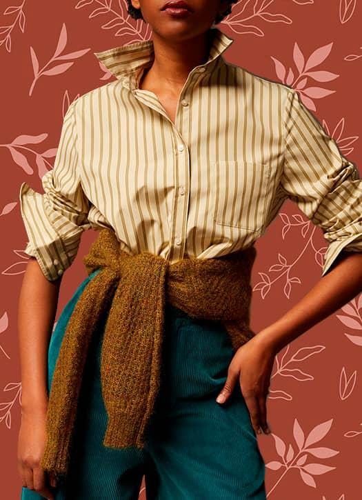 Chemise rayée, pantalon lagon en velours côtelé, pull bronze en mohair, le tout Sœur Paris