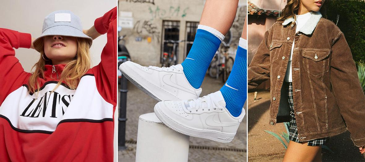 Air Force 1 blanche de Nike,  blouson fourré en velours côtelé de Brandy Melville et le Sweat à maxi logo Levi's