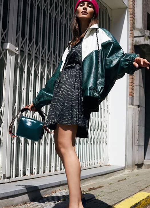 Veste de jogging en faux cuir vert et blanch, Essentiel Antwerp