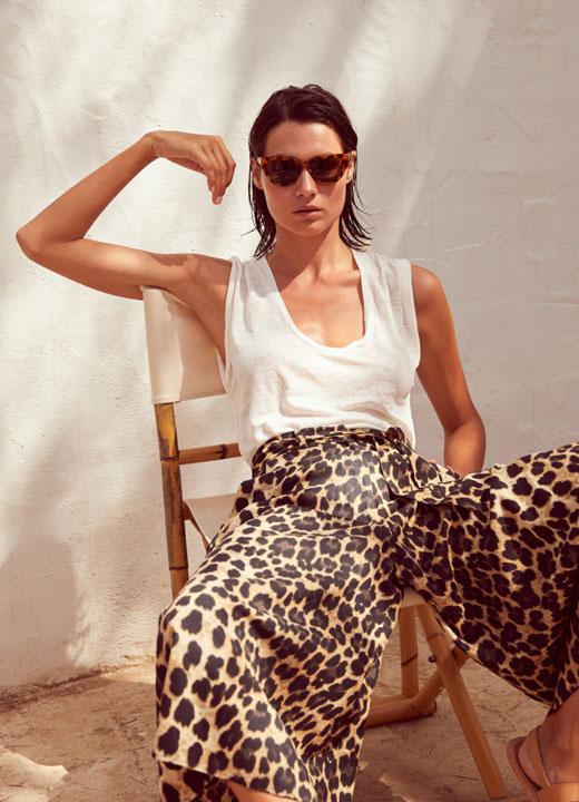 Pantalon large imprimé léopard, Notshy