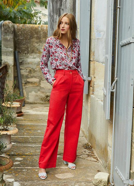 Pantalon Gabin couleur fraise, Petite Mendigote