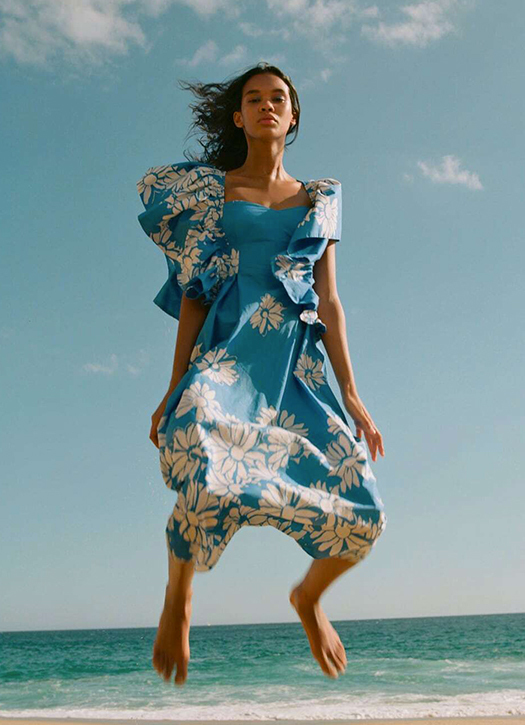 Robe en popeline imprimée, Zara