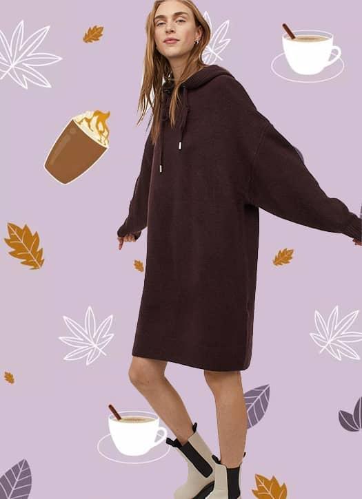 Robe à capuche en maille H&M