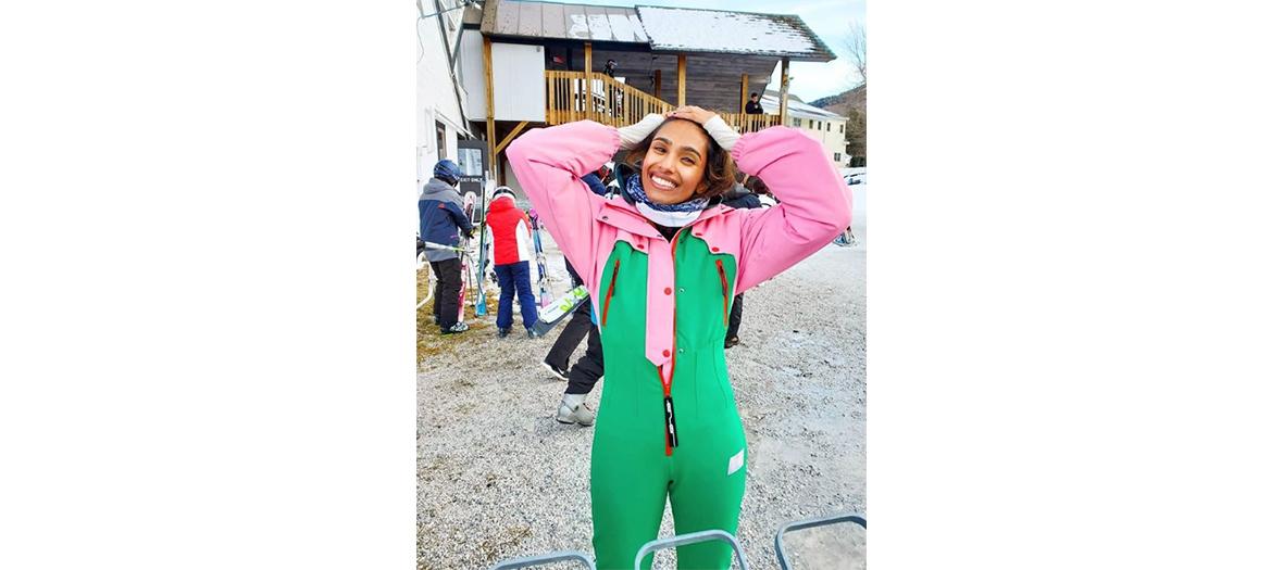 Combinaison color block verte et rose de Ski Asos