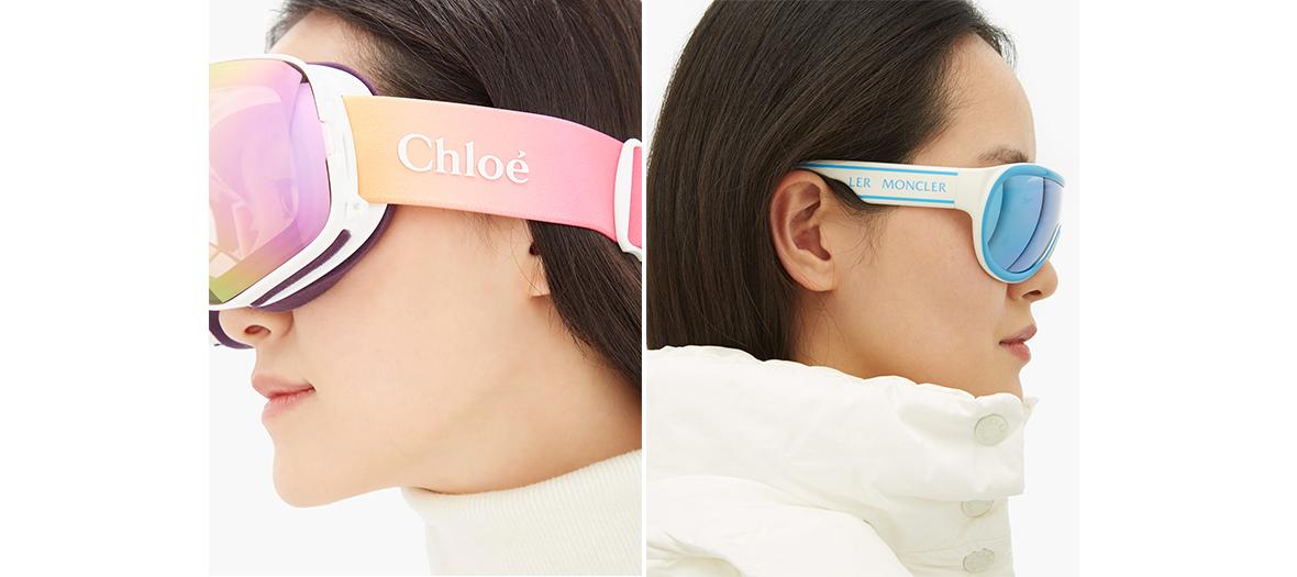 Le masque Chloé Cassidy et les verres polarisés bleus de Moncler