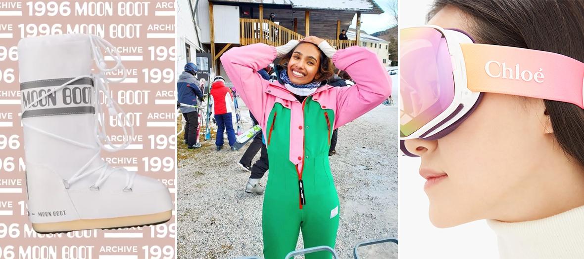 Combinaison color block verte et rose de Ski Asos, Moonboots vinted et masque Chloé Cassidy