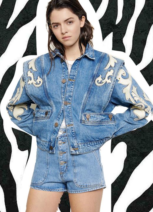 Veste en jean ornée de patchs et strass, Sandro