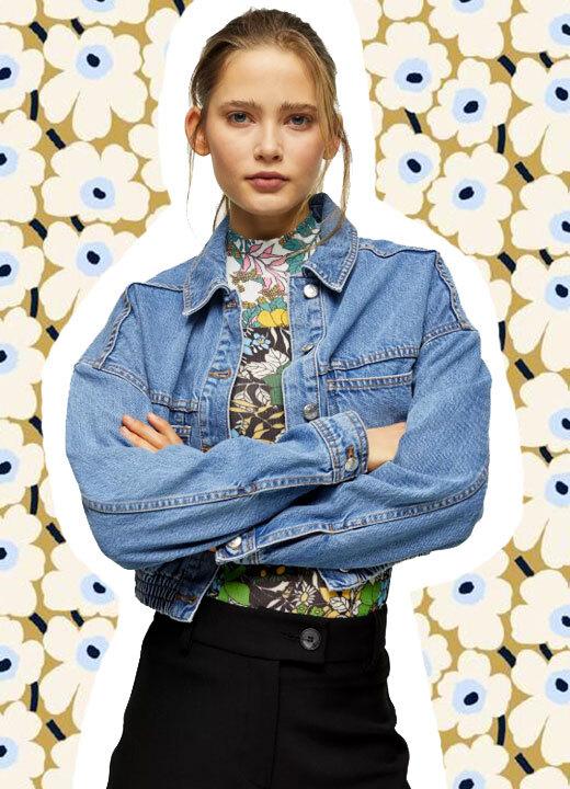 Veste courte en jean à ourlets élastiques, Topshop